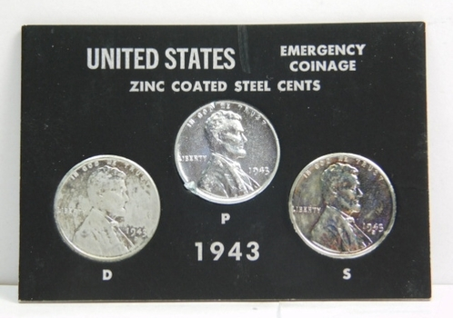 United States Emergency Coinage - Zinc Coated Steel Cents - 1943-D, P and S Cents - In Plastic Snap Close Holder