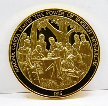 24K Gold Layered Over 2 oz. of .925 Sterling Silver - Franklin Mint History of Mankind Set - Magna Carta Limits The Power Of English Monarchs - 1215 - Low Mintage Of Only 3,213 - In Original Protective Capsule