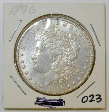 1896 Morgan silver Dollar in 2x2 holder - Appealing Luster!