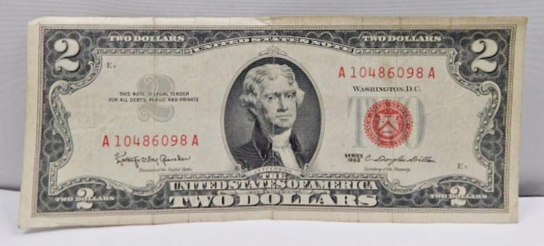 1963 $2 Red Seal U.S. Legal Tender Note