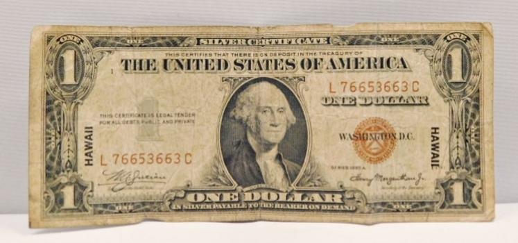 1935A $1 Hawaii Silver Certificate - Emergency World War II Issue