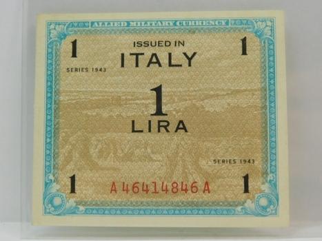 1943 Italy World War II Allied Military Currency 1 Lira - High Grade Crisp Uncirculated