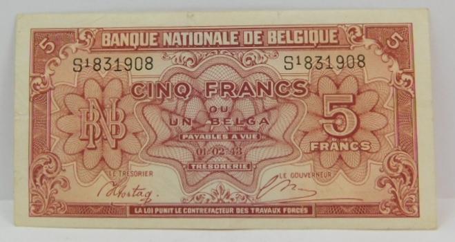 1943 Belgium 5 Francs - World War II Era - Nice Higher Grade Bank Note
