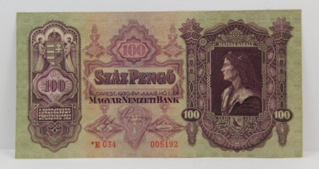 1930 Hungary 100 Pengo - High Grade Crisp Note
