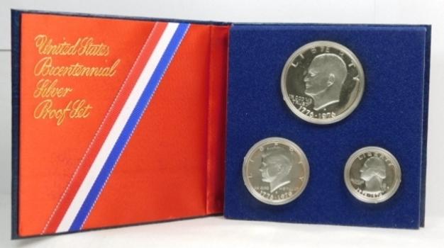 SILVER! 1776-1976-S Gem Brilliant SILVER Proof Set! (3) Coins-(1) 1976-S Eisenhower Dollar, (1) 1976-S Kennedy Half Dollar & (1) 1976-S Washington Quarter-Original Government Packaging!