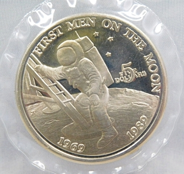 1989 $5 First Men on the Moon 20th Anniversary Commemorative Coin