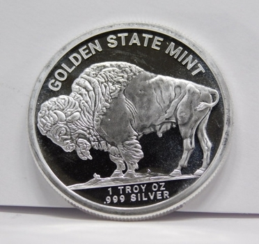 1 oz .999 Fine Silver Buffalo/Indian Head Silver Round Bullion - Minted by the Golden State Mint
