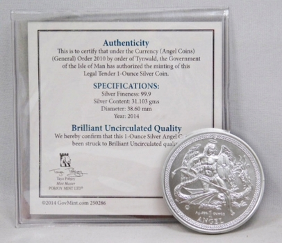 1 oz .999 Fine Silver 2014 Isle of Man Angel Coin w/Signed COA