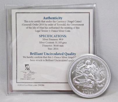 1 oz .999 Fine Silver 2014 Isle of Man Angel Coin w/Signed COA