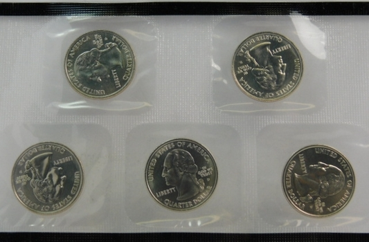 2006-D Uncirculated State Commemorative Quarters - In Original Sealed Mint Cellophane from Denver Mint - South Dakota, North Dakota, Nebraska, Colorado and Nevada