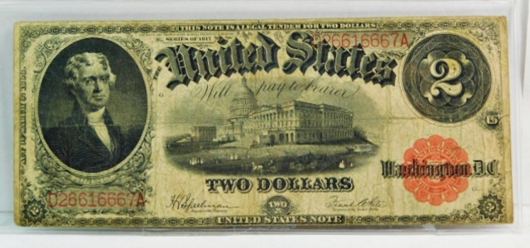 Series 1917 Large Size $2 Legal Tender Note - Speelman/White Signatures - D26616667A