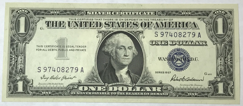 1957 $1 Silver Certificate - Payable in Silver to the Bearer - High Grade Crisp Uncirculated