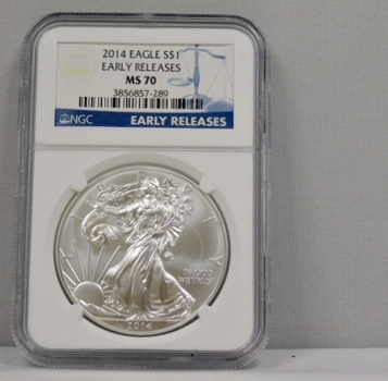 2014 American Silver Eagle - Early Releases Coin - Graded MS70 by NGC -Struck at Philadelphia