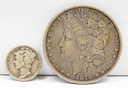 Choice Original 1878-S Silver Morgan Dollar-Slightly Tougher Date & Album Ready! First Year Of Issue! Plus 1931-D Dime! Depression Era Toughy!