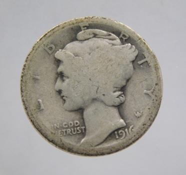 SCARCE DATE - 1916-S Silver Mercury Head Dime