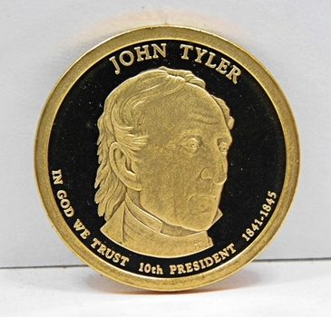 2009-S Proof John Tyler Commemorative Presidential Dollar ($1) - Excellent Detail and DCAM