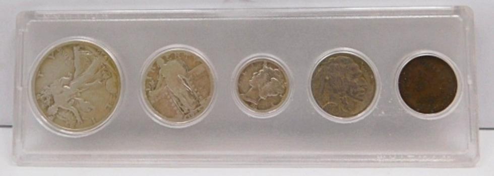 5 Piece Silver Obsolete Type Set! (1) Walking Liberty Half Dollar (1) Standing Liberty Quarter (1) Mercury Dime (1) Buffalo Nickel & (1) Indian Head Cent-Custom Whitman Holder
