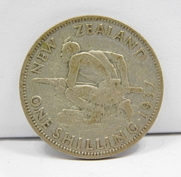 1937 Silver New Zealand Schilling-Original Condition