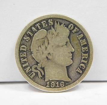 1916 Silver US Barber Dime-Last Year Of Issue