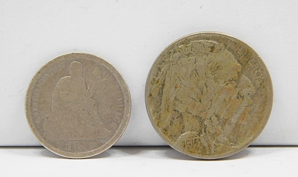 2 Vintage Obsolete US Coins! (1) 1875 US Silver Dime & (1) 1913 Type 2 Buffalo Nickel (First Year Of Issue) Both Are Original!