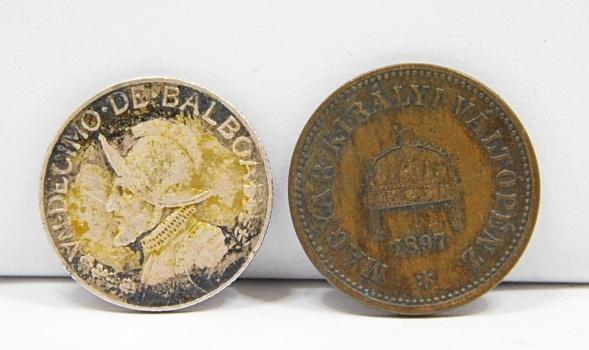 2 World Coins! (1) 1897 Hungary 2 & (1) 1962 Silver Panama Decimo