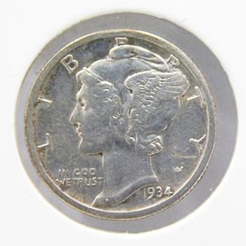 1934 Silver US Mercury Dime-Depression Era Silver Coin