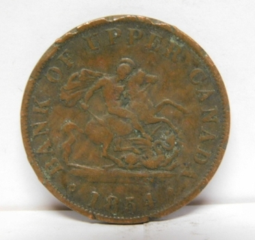 1854 Bank of Upper Canada Half Penny - St. George Slaying Dragon