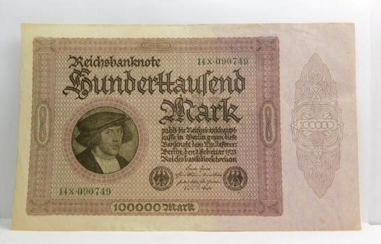 1923 Germany 100,000 Mark Reichsbanknote - High Grade