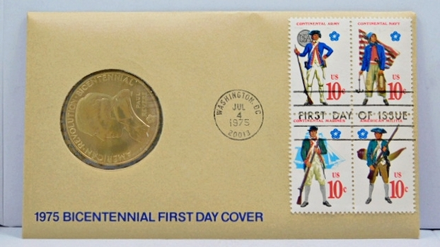 1975 Bicentennial First Day Cover - Includes American Revolution Bicentennial Bronze Medal and 4 10c Stamps Commemorating the Continental Army