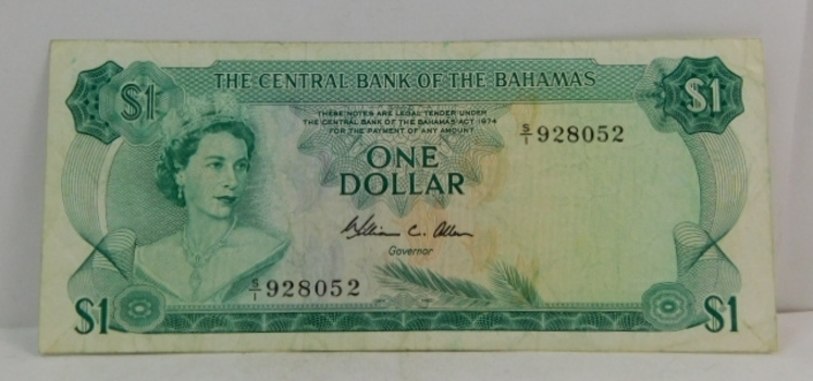 SCARCE 1974 $1 Bahamas Bank Note - W.C. Allen Signature