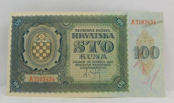 1941 Croatia 100 Kuna - High Grade Crisp Uncirculated Note