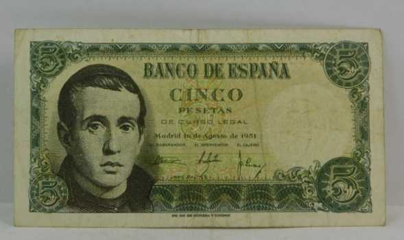 1951 Spain 5 Pesetas Bank Note