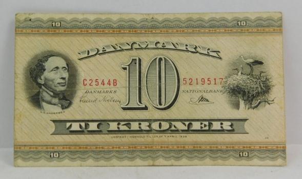 1936 Denmark 10 Kroner Bank Note
