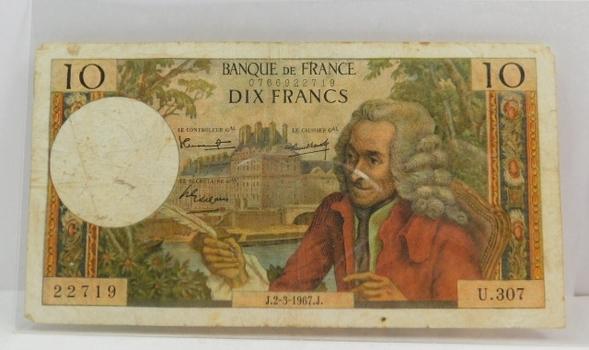 1967 France 10 Francs Voltaire Bank Note