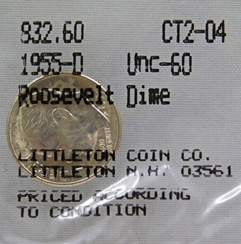 1955-D Roosevelt Dime - Graded Uncirculated 60 and Packaged by The Littleton coin Company