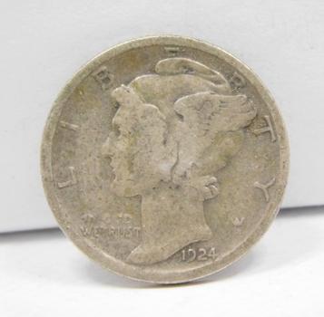 SCARCE DATE - 1924-S Silver Mercury Head Dime
