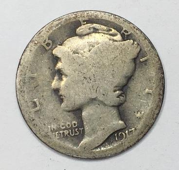 Scarce Date - 1917-S Silver Mercury Head Dime