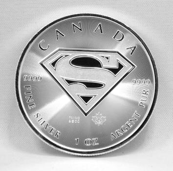 Superman - DC Comics - 1 oz .9999 Fine Silver 2016 Canada Silver Commemorative - Brilliant Uncirculated Condition