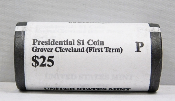 UNOPENED/UNSEARCHED $25 MINT ROLL - 2012-P Presidential $1 Coins - GROVER CLEVELAND (1st term)