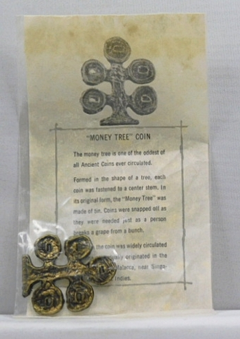 Ancient Chinese Money Tree Coin Replica w/Historical Information Sheet