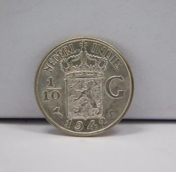 1942S Netherlands East Indies Silver 1/10 Gulden - High Grade w/Original Luster