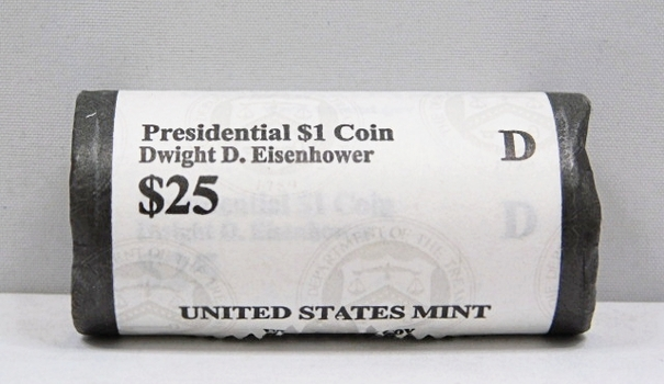 UNOPENED/UNSEARCHED $25 MINT ROLL - 2015-D Presidential $1 Coins - DWIGHT D. EISENHOWER