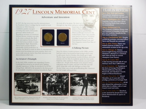 Two (2) 1927 Lincoln Wheat Cents on Historical Story Board