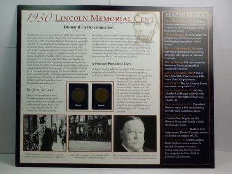 Two (2) 1930 Lincoln Wheat Cents on Historical Story Board