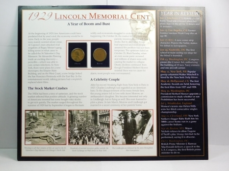 Two (2) 1929 Lincoln Wheat Cents on Historical Story Board
