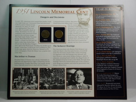 1951 and 1951-S Lincoln Wheat Cents on Historical Story Board