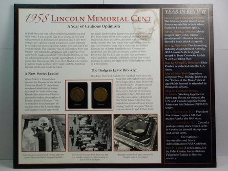 Two (2) 1958-D Lincoln Wheat Cents on Historical Story Board