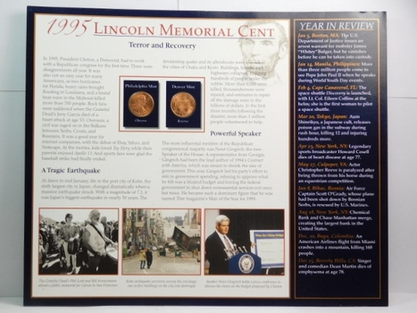 1995 and 1995-D Lincoln Memorial Cents on Historical Story Board