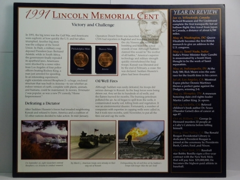 1991 and 1991-D Lincoln Memorial Cents on Historical Story Board