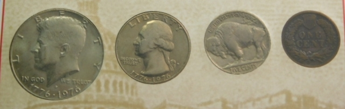 USA Four Most Famous Coins: Bicentennial Half Dollar and Quarter, 1937 Buffalo Nickel & 1889 Indian Penny